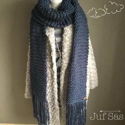 XXL shawl/sjaal handmade by juf Sas met gratis breipatroon