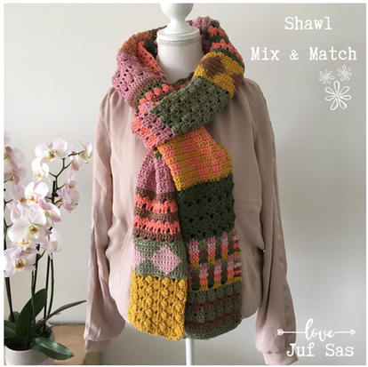 Shawl Mix & Match handmade by juf Sas met gratis haakpatroon