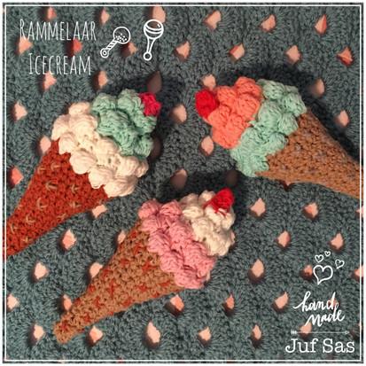 Gehaakte rammelaar Icecream handmade by juf Sas met gratis patroon