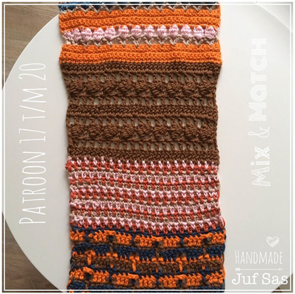Shawl Mix & Match handmade by juf Sas haakpatronen 17 t/m 20
