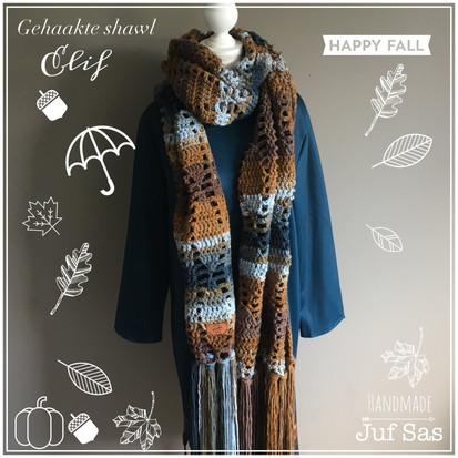 Shawl Elif handmade by juf Sas met gratis haakpatroon