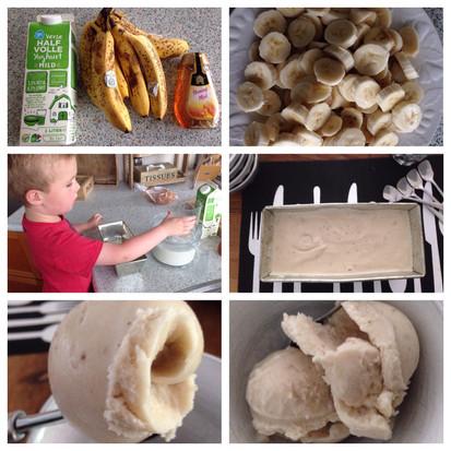 Eigen gemaakte bananen yoghurt ijs, heel simpel en erg lekker