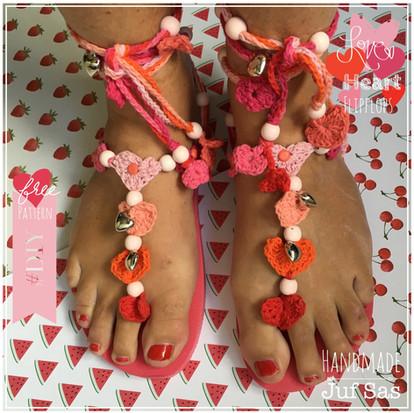Flip flops Heart handmade by juf Sas met gratis haakpatroon