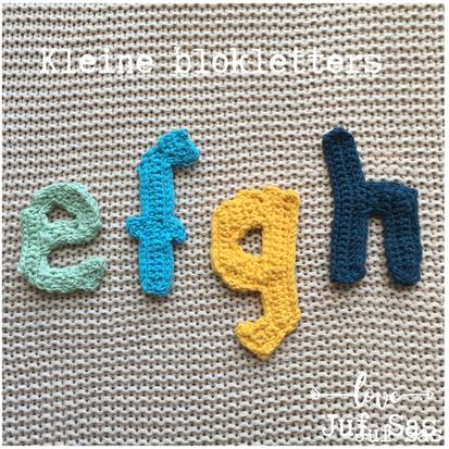 Blokletters e, f, g en h handmade by juf Sas met gratis patroon