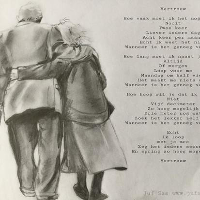 Vertrouw, gedicht en tekening van juf Sas