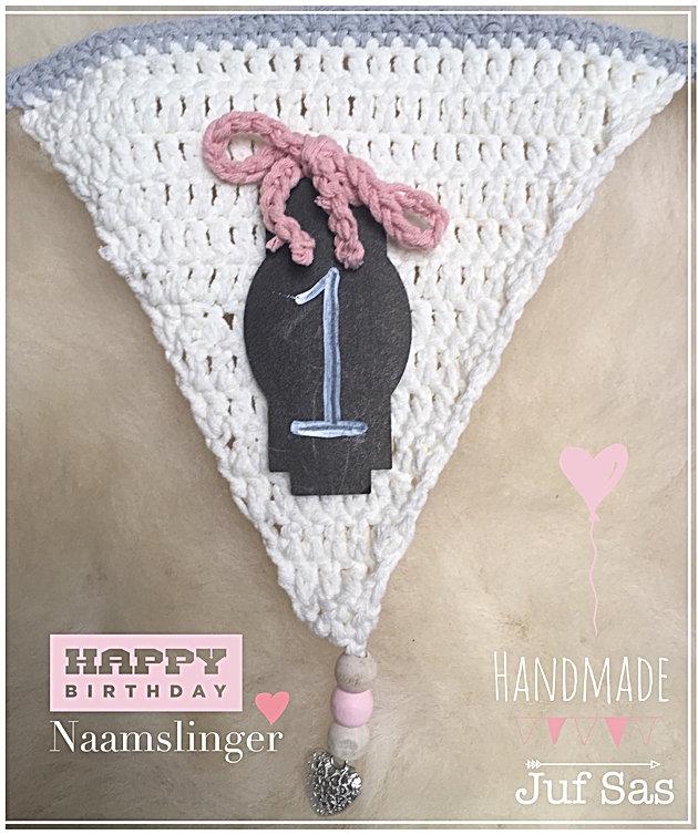 Gehaakte Naamslinger Leuk Voor Verjaardag Of Geboorte Handmade By