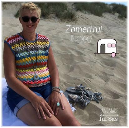 Zomertrui Happy handmade by juf Sas met gratis patroon