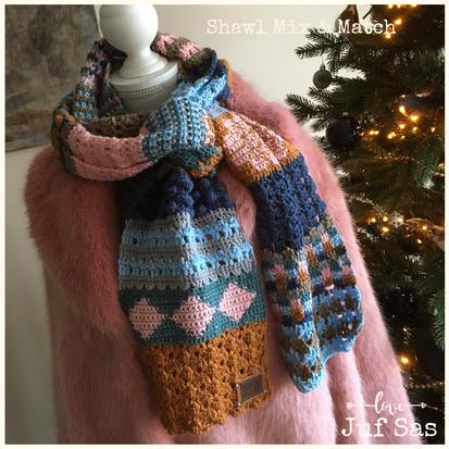 Shawl Mix & Match, haak je  shawl in 24 dagen handmade by juf Sas met gratis haakpatroon