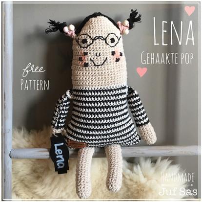 Gehaakte Pop Lena handmade byjuf Sas met gratis patroon