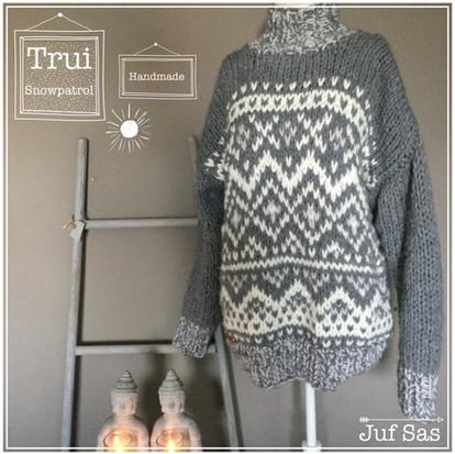Trui Snowpatrol handmade by juf Sas met gratis breipatroon