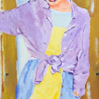 TBT Schilderij van vrouw bij deur uit 1994