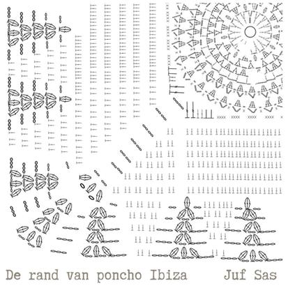 De rand van poncho Ibiza handmade by juf Sas met gratis patroon