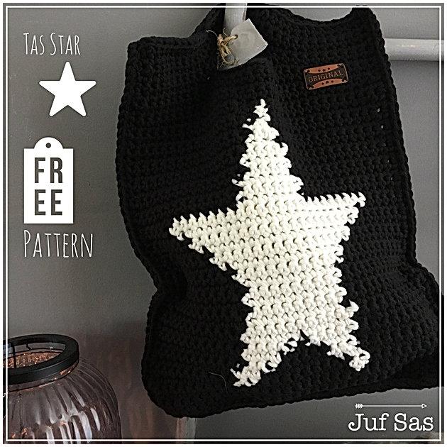 Voorkeur Tas Star handmade by juf Sas met gratis patroon | Creatief @KB59