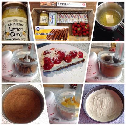 Aardbeien monchou taart met bastogne bodem, een lekkere zomertaart
