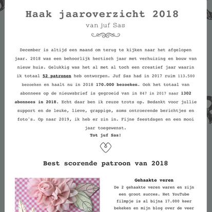 Haak jaaroverzicht 2018 van juf Sas