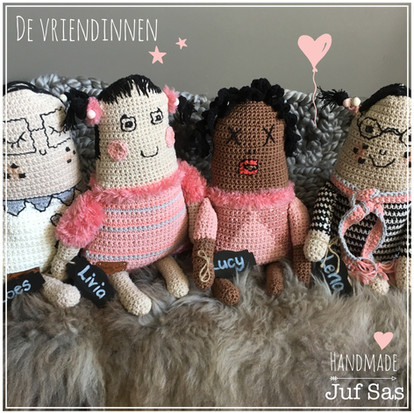 De vier vriendinnen handmade byjuf Sas met gratis patronen