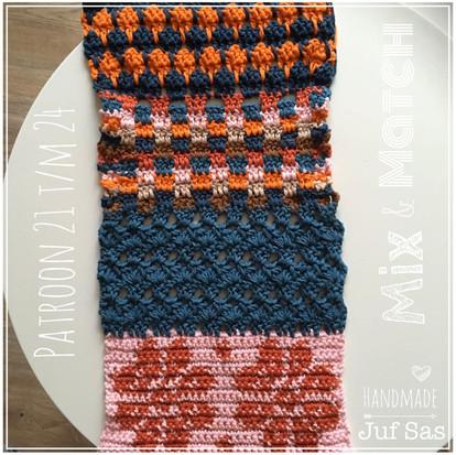 Shawl Mix & Match handmade by juf Sas haakpatronen 21 t/m 24
