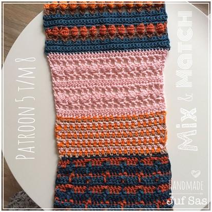Shawl Mix & Match handmade by juf Sas haakpatronen 5 t/m 8