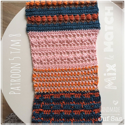 Shawl Mix & Match handmade by juf Sas haakpatronen 5 t/m 8