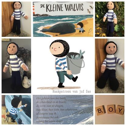 Boy uit het prentenboek De kleine walvis handmade by juf Sas met gratis haakpatroon