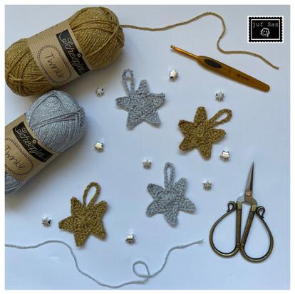 Kerstster handmade by juf Sas met gratis haakpatroon