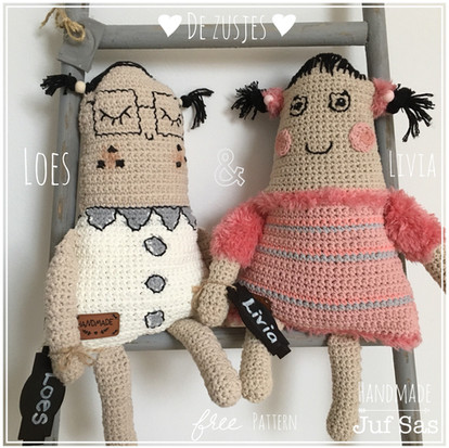 Gehaakte Pop Livia handmade byjuf Sas met gratis patroon