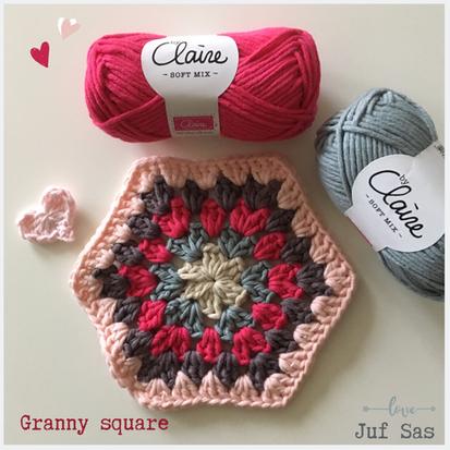 Zeshoekige granny square handmade by juf Sas met gratis haakpatroon