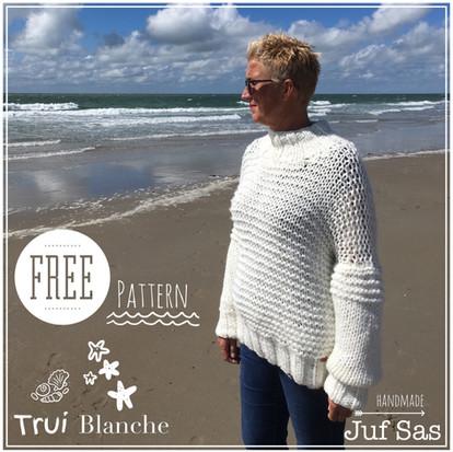 Trui Blanche handmade by juf Sas met gratis breipatroon