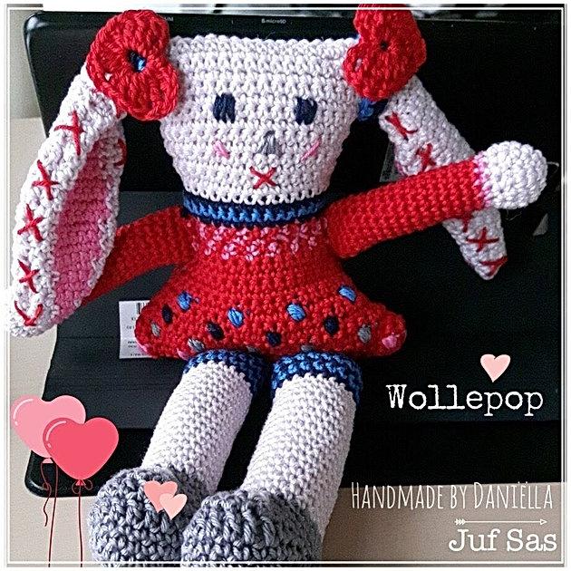 Knuffel Wollepop Handmade By Daniëlla Met Gratis Patroon Van Juf Sas