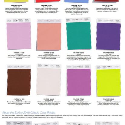 De kleuren voor voorjaar 2018 volgens Pantone