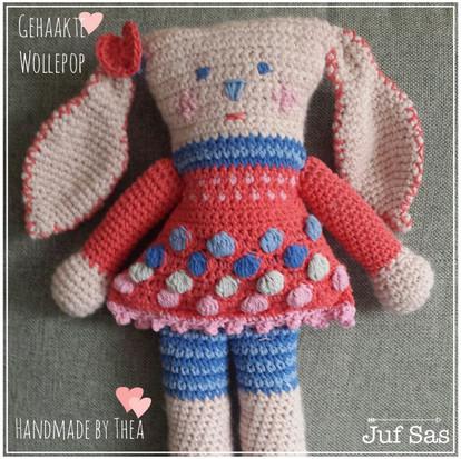 Knuffel Wollepop handmade by Thea met gratis patroon van juf Sas