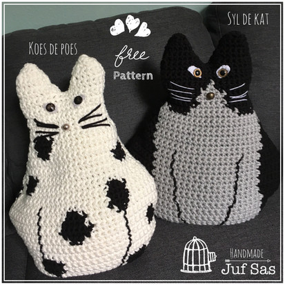 Koes de poes en Syl de kat handmade by juf Sas met gratis patroon