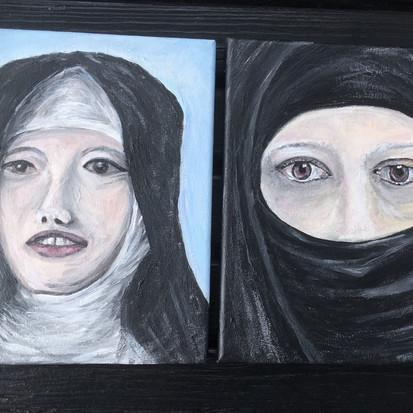 Schilderijen 'Twee vrouwen' geschilderd door juf Sas
