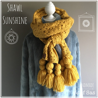 Shawl Sunshine handmade by juf Sas met gratis patroon