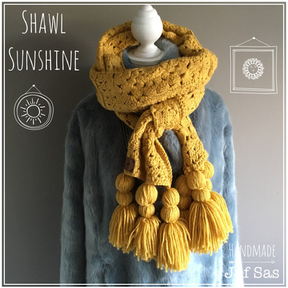Shawl Sunshine handmade by juf Sas met gratis patroon