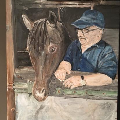 Schilderij 'Opa' geschilderd door  juf Sas