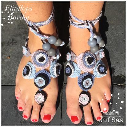 Flip flops Bardot handmade by juf Sas met gratis haakpatroon