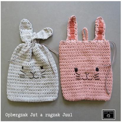 Opbergzak Jut en rugzak Juul handmade by juf Sas met gratis haakpatroon
