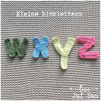 Blokletters w, x, y en z handmade by juf Sas met gratis patroon