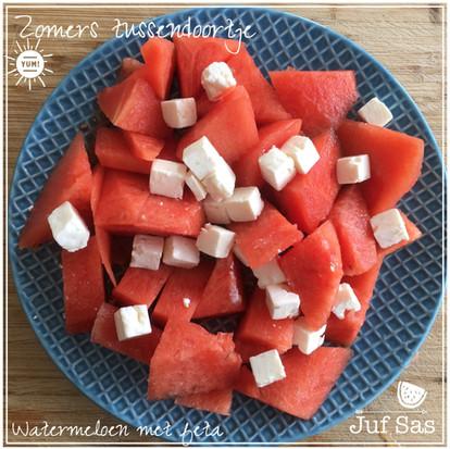 Zomers tussendoortje, watermeloen met feta, makkelijk, snel en erg lekker