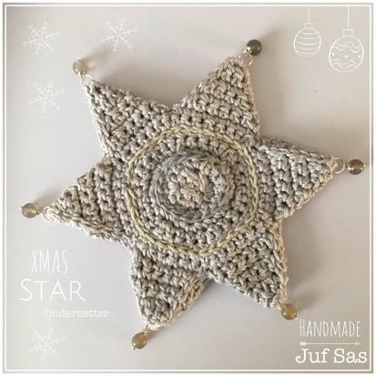 XMAS Star onderzetter handmade by juf Sas met gratis haakpatroon