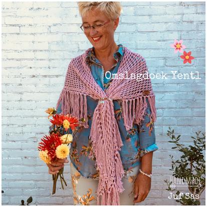 Omslagdoek Yentl handmade by juf Sas met gratis patroon