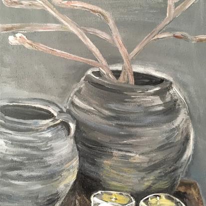 Schilderij Sober voor dochter geschilderd door juf Sas