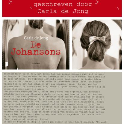 Boekquote uit 'De Johansons' geschreven door Carla de Jong