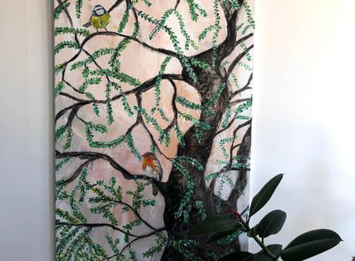 Schilderij 'Spring tree' geschilderd door juf Sas