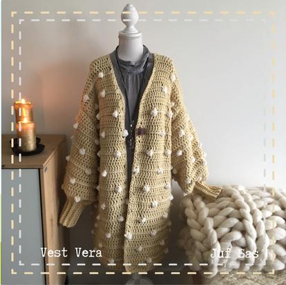 Vest Vera handmade by juf Sas met gratis haakpatroon