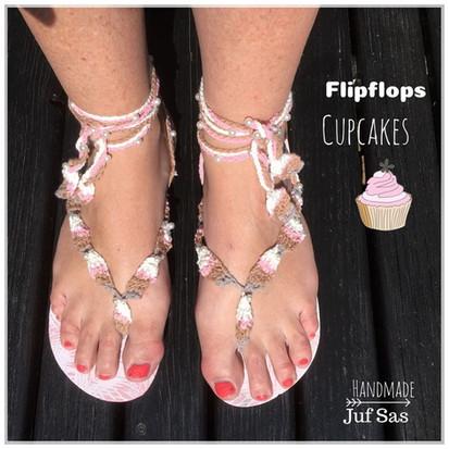 Gehaakte Flipflops Cupcakes handmade by juf Sas met gratis patroon