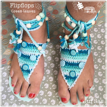 Flipflops Green Leaves handmade by juf Sas met gratis haakpatroon