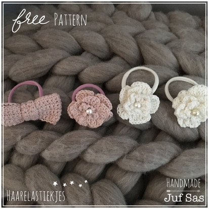 Haarelastiekjes handmade by juf Sas met gratis patroon