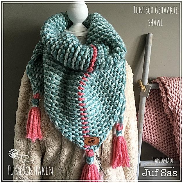 Tunisch Gehaakte Sjaal Handmade By Juf Sas Creatief Zeeland